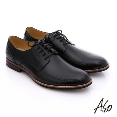 A.S.O 職人通勤 簡約全真皮綁帶紳士皮鞋- 黑