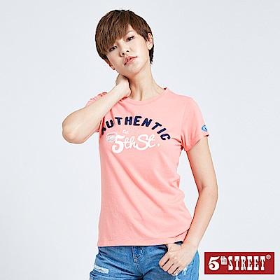 5th STREET 貼布繡基本短袖T恤-女-桔色