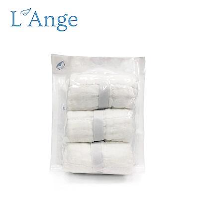 L'Ange 棉之境 9層多功能紗布小方巾 22x22cm 3入組-白色