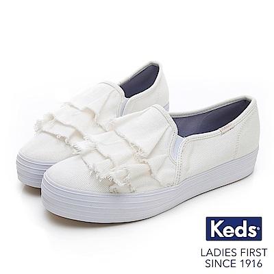 Keds TRIPLE RUFFLE 單寧荷葉休閒鞋-白色