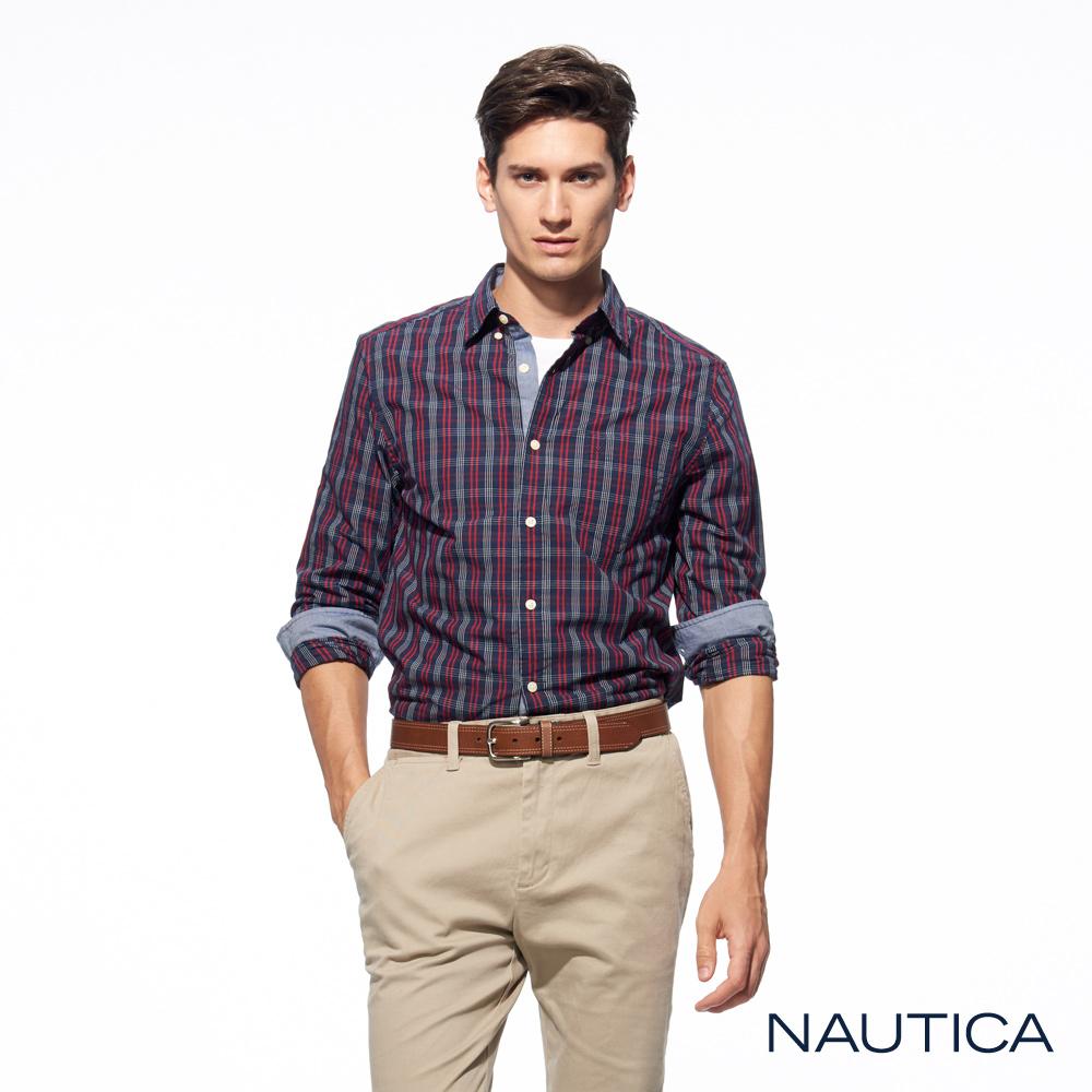 Nautica經典格紋修身長袖襯衫 -藍紅格