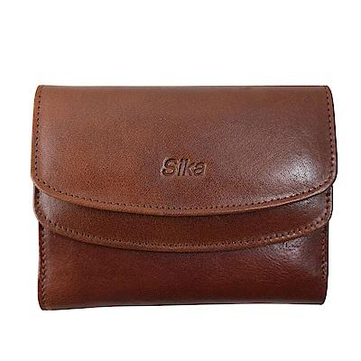 SIKA義大利時尚真皮雙蓋中夾A8205-02深咖啡