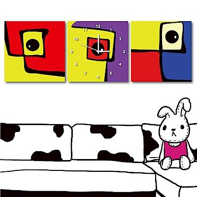 美學365 三聯式方形 靜音時鐘無框畫-童趣30x30cm