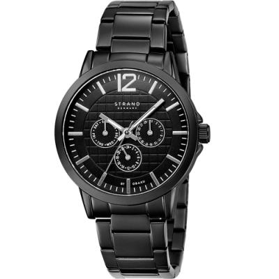 STRAND 丹麥海之星-簡約三眼紳士腕錶 / 黑-44.5mm(S709GMBBSB)