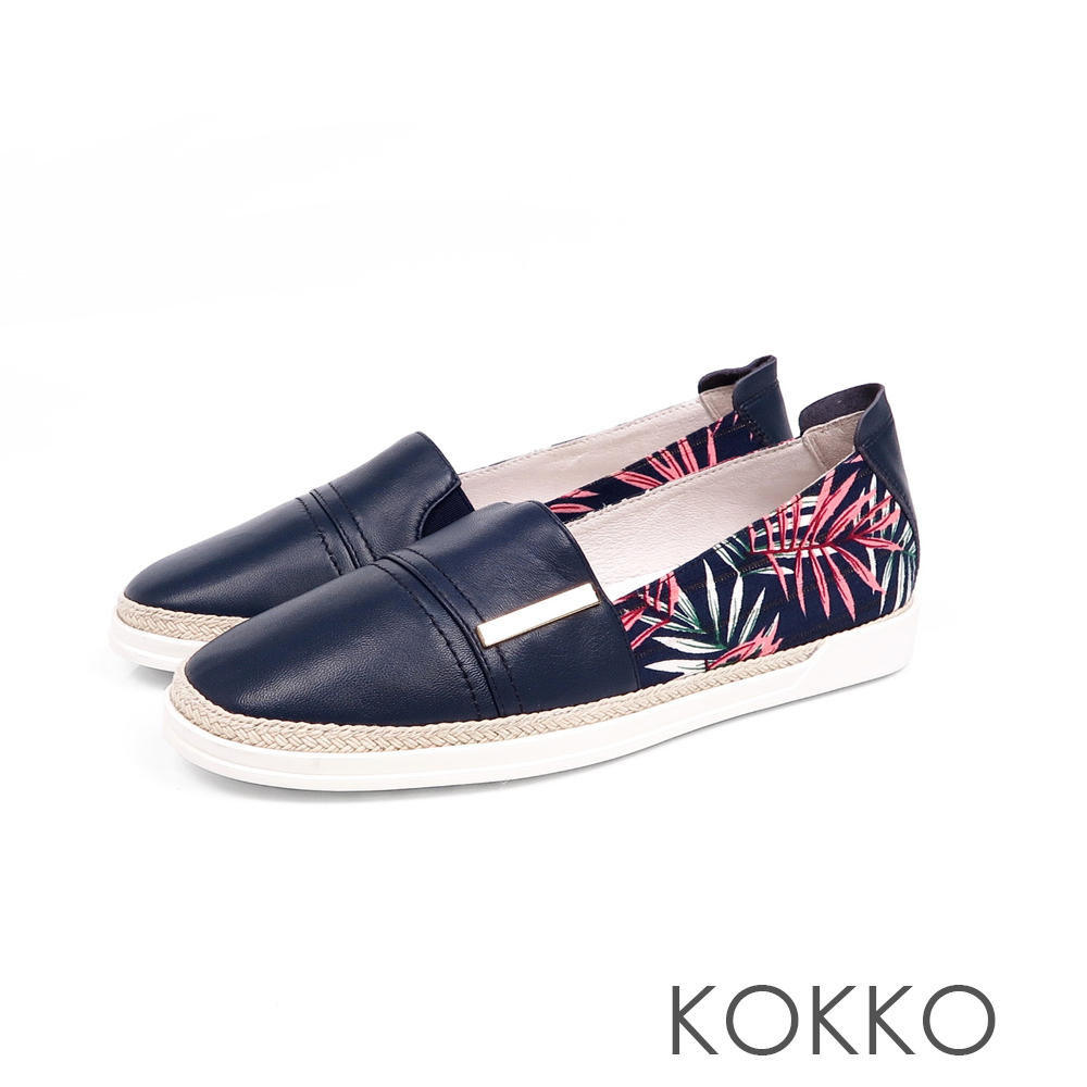 KOKKO - 極度舒適簡約草編懶人真皮休閒鞋 - 極光藍