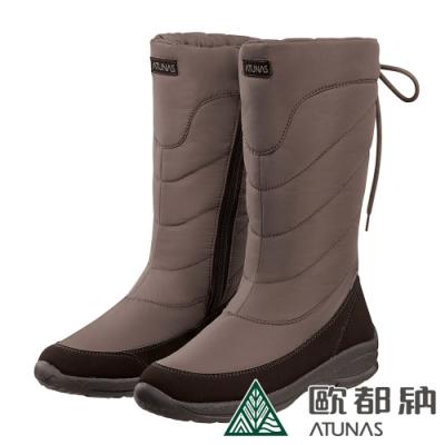 【ATUNAS 歐都納】女款防水內膜高筒保暖雪靴GC-1810咖啡
