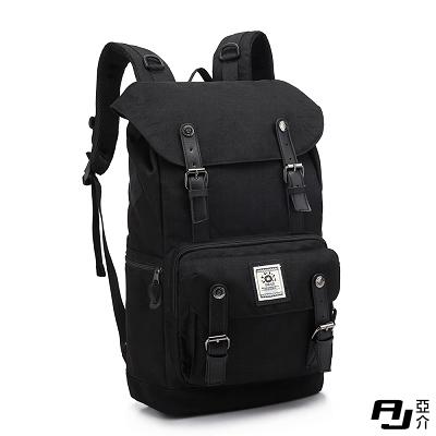 AJ.亞介 街頭潮流後背包 電腦包 黑色 G9506
