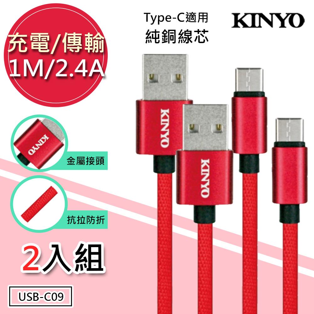 (2入組)KINYO 1M/2.4A Type-C極速充電傳輸線(USB-C09)純銅蕊