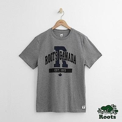 Roots 男裝-弓形字標短袖T恤-灰色