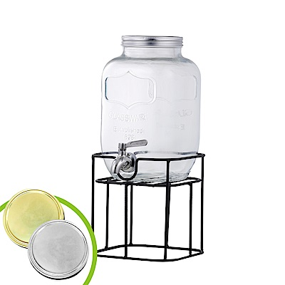 Reeves 維思 大容量玻璃梅森果汁派對桶-方形4.0L附架(2色可選)