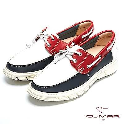 CUMAR 時尚休閒 MIT牛皮綁帶帆船鞋-白