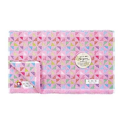 日本丸真 今治毛巾 繽紛三角-桃粉色