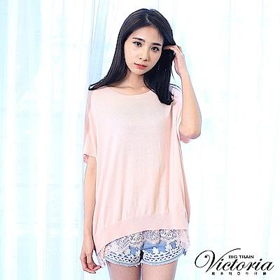 Victoria 下擺蕾絲剪接寬鬆線衫-女-淺粉