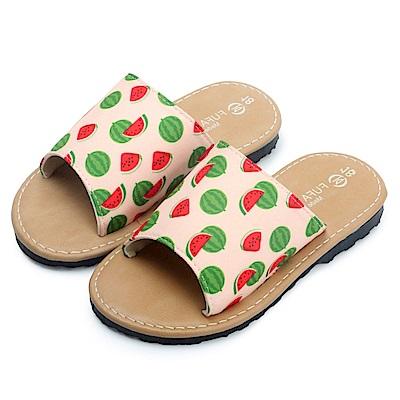 BuyGlasses 夏日水果圖案不修邊兒童拖鞋-粉