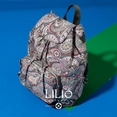【LILIO】鐵灰_壓扣式手提/雙肩後背包_簡約生活_PAISLEY  PARK