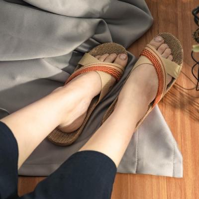 樂嫚妮 日韓國熱銷亞麻透氣拖鞋/室內外居家拖鞋-女