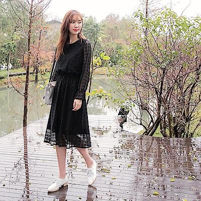 滿版蕾絲縮腰長洋裝-OB嚴選