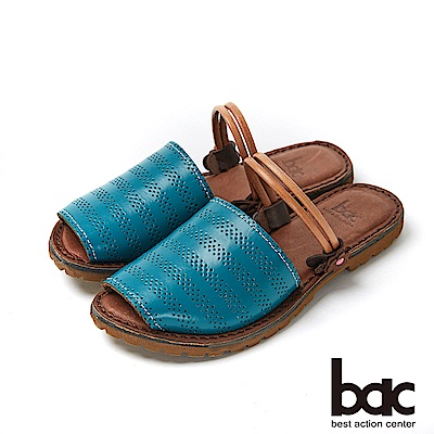 bac繽紛曼谷 - 簡約素色雷射沖孔兩穿式平底涼拖鞋-藍
