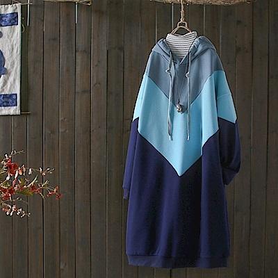 拼色連帽純棉長袖加絨中長版洋裝/設計所在Y5020
