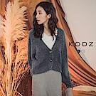 東京著衣-KODZ 名媛質感舒適針織毛海排釦澎澎袖外套(共二色)