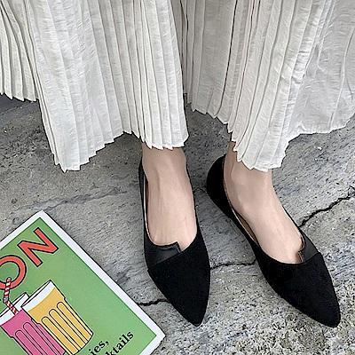 韓國KW美鞋館 經典優雅女伶拼接造型平底鞋-黑色