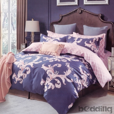 BEDDING-100%棉單人全鋪棉床包兩用被套三件組-瑪雅之旅-藍