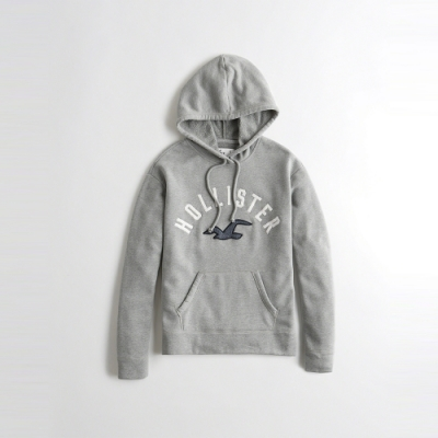 海鷗 Hollister 經典刺繡大海鷗文字設計連帽外套(女)-灰色