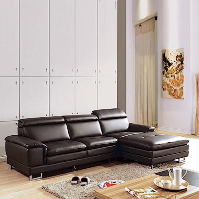 AS-羅德左L型咖啡皮沙發