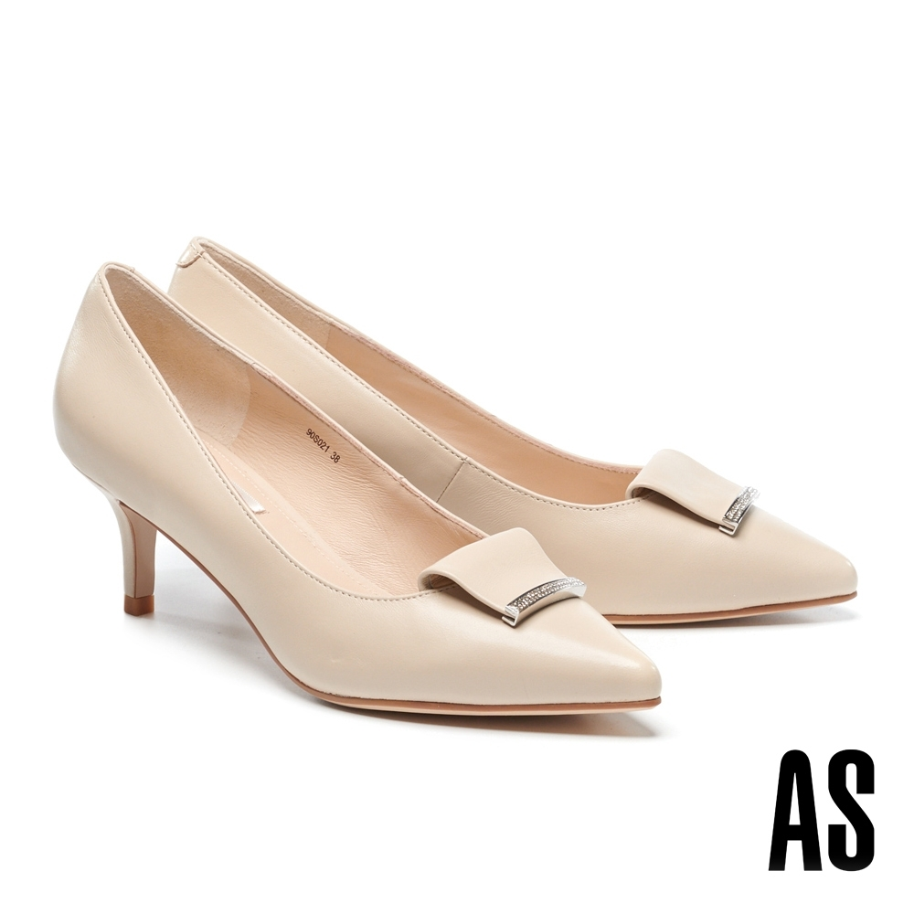 高跟鞋 AS 反折金屬鑽釦羊皮尖頭高跟鞋-米