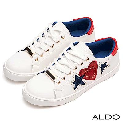 ALDO 原色美式塗鴉綴金屬鉚釘圓珠綁帶式休閒鞋~熱情紅心