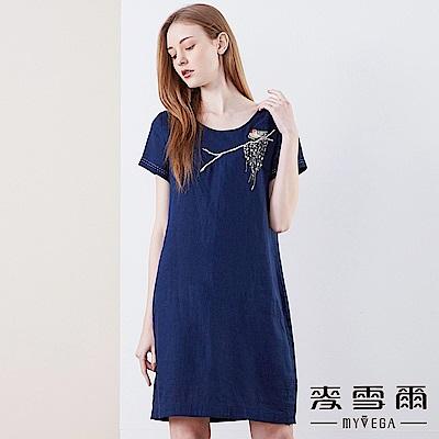 【麥雪爾】棉麻小鳥枝葉刺繡短袖洋裝