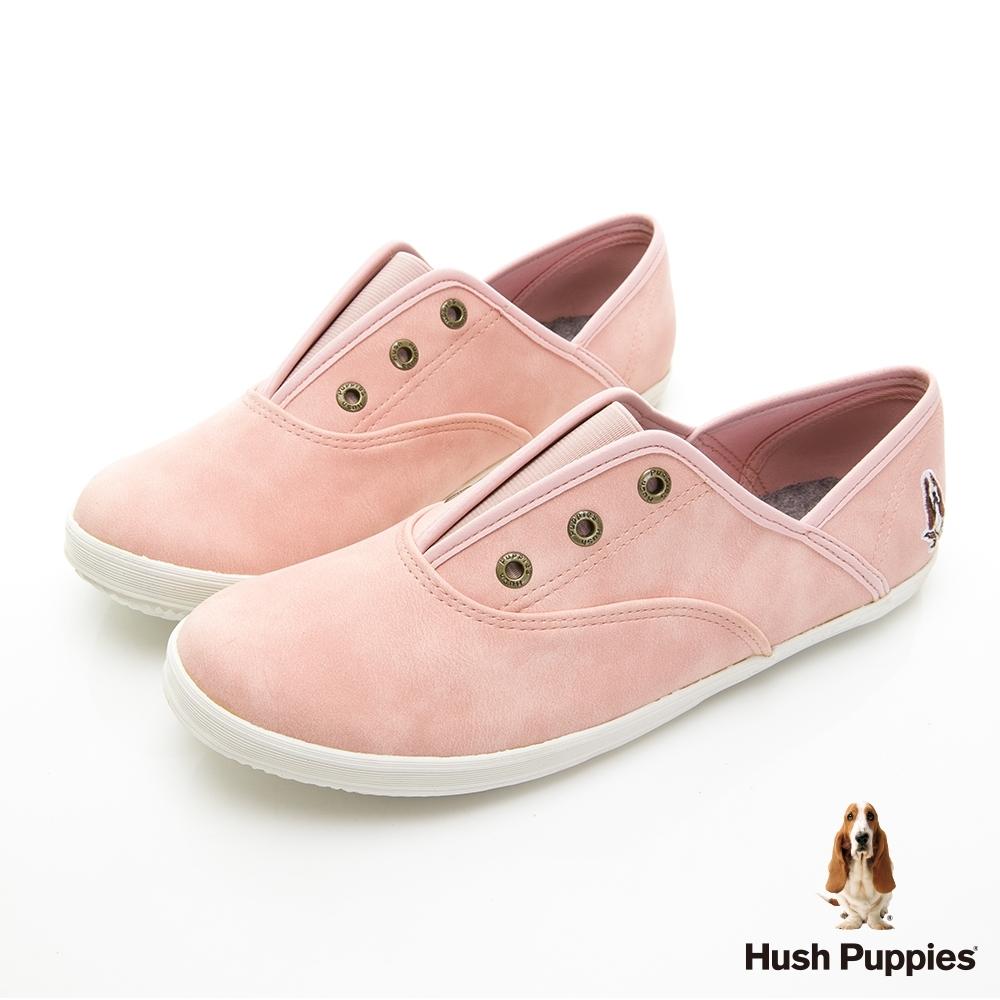 Hush Puppies 熱銷基本款咖啡紗皮質懶人鞋-淺粉