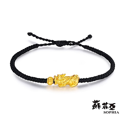 蘇菲亞SOPHIA - 開運系列貔貅黃金手環(寬版黑)