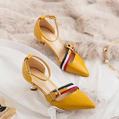 KEITH-WILL時尚鞋館 美搭款時尚個性尖頭細跟鞋-黃色