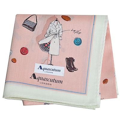 Aquascutum 品牌經典設計商品圖騰字母LOGO帕領巾(淡粉橘)