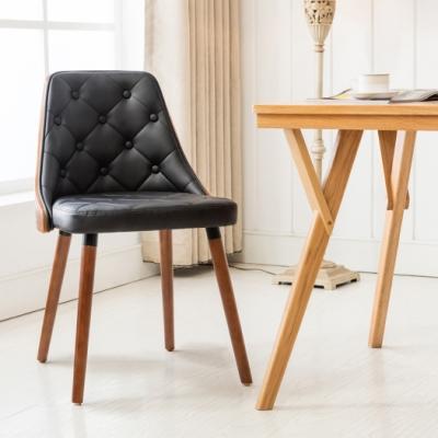 E-home Jasper賈斯帕拉扣曲木餐椅 黑色
