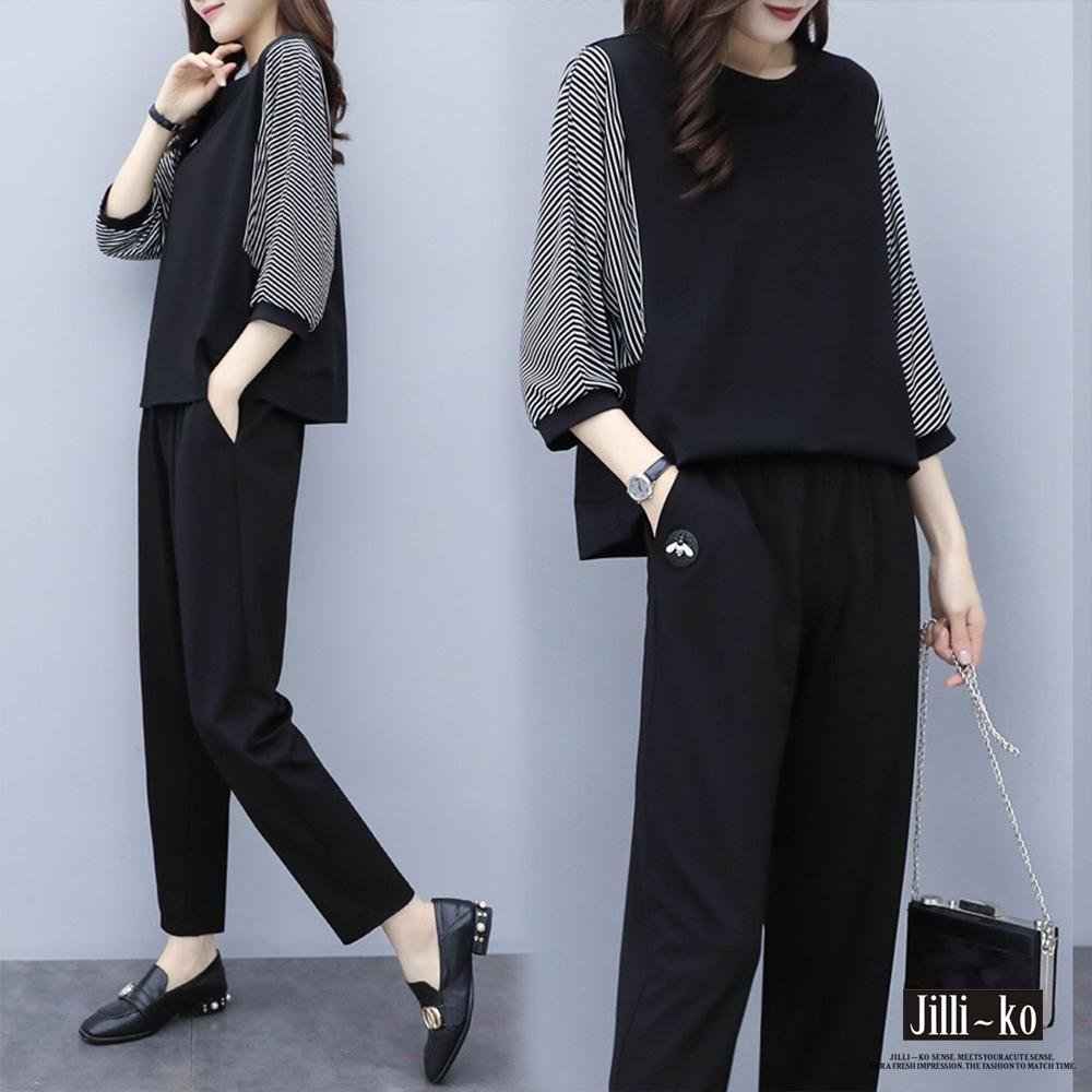JILLI-KO 兩件套拼接七分袖套裝- 黑