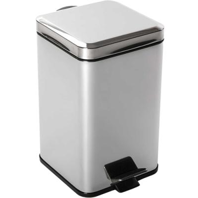 《VERSA》方形腳踏式垃圾桶(銀12L)