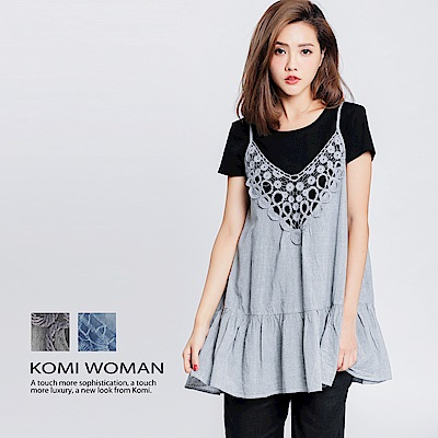 【KOMI】棉織花吊帶荷葉上衣-二色