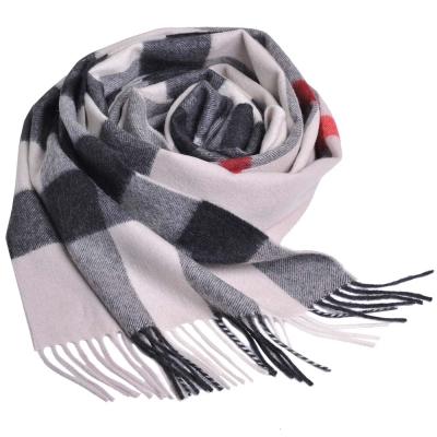 BURBERRY 經典大方格紋喀什米爾羊毛披肩/圍巾(淺卡其/大 200x36cm)