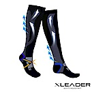 LEADER 加強漸進式運動長筒壓縮襪 腿套壓力襪 一雙入 黑灰 - 急