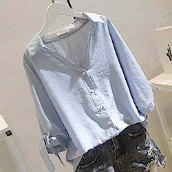 初色  休閒百搭純色襯衫-共5色-(M-2XL可選)