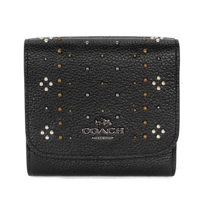 COACH黑色荔枝紋全皮鉚釘貼飾釦式三摺短夾