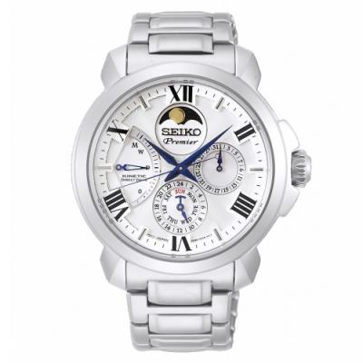 SEIKO 精工Premier人動電能萬年曆手錶SRX015J1-白X銀/43mm