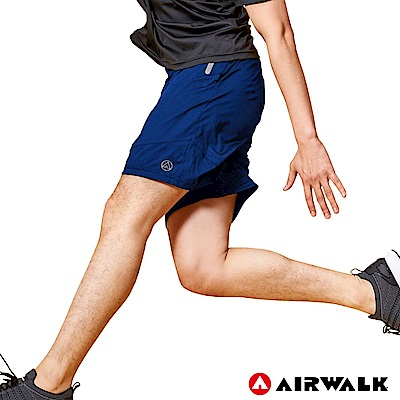 【AIRWALK】男款剪接運動短褲-丈青