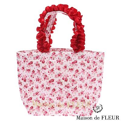 Maison de FLEUR 玫瑰印花荷葉邊手提包