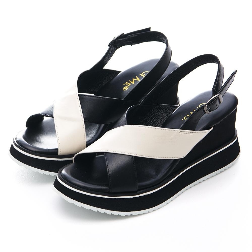 G.Ms. MIT系列-復古風小香配色-交叉寬版厚底楔型涼鞋-黑白色