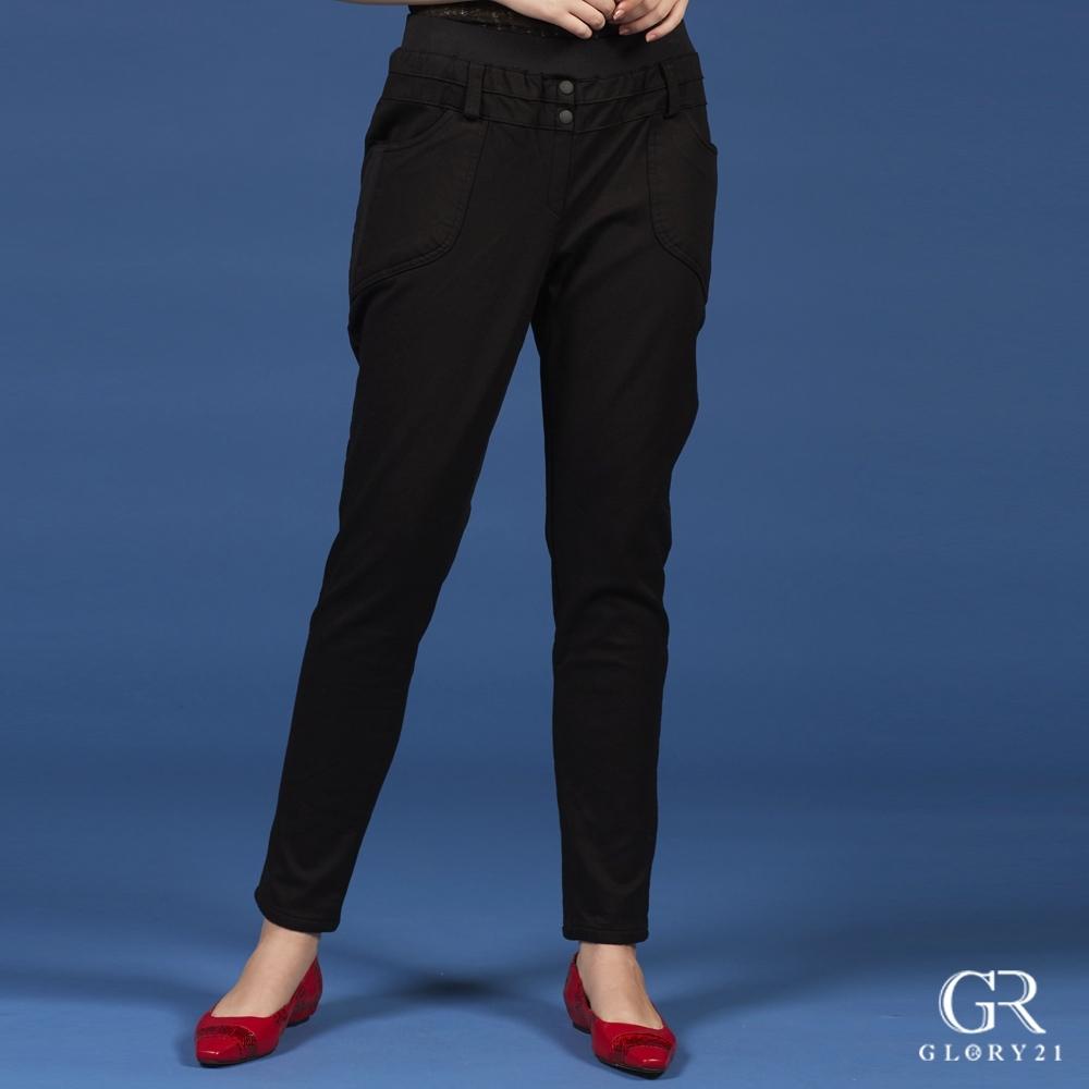 GLORY21腰頭久帶雙釦彈性褲_黑