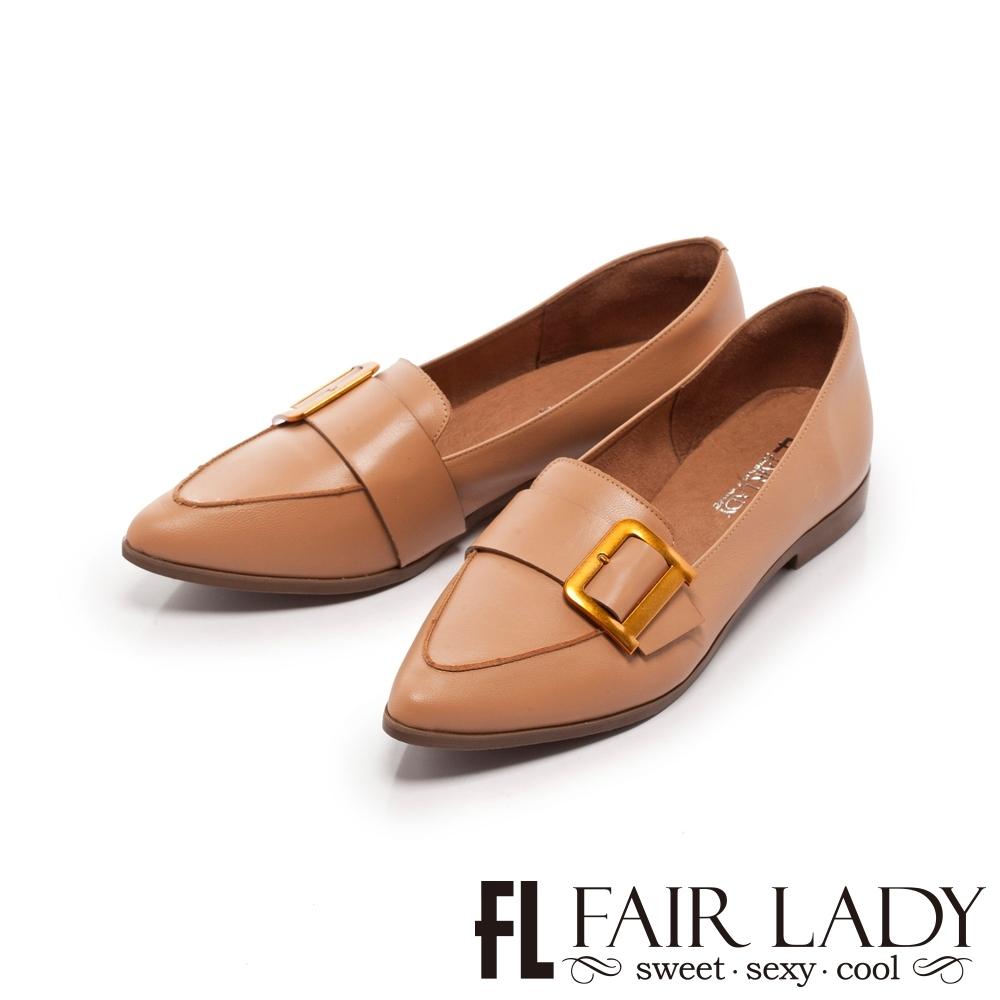 FAIR LADY 小時光古銅釦帶尖頭樂福平底鞋 蜜糖棕