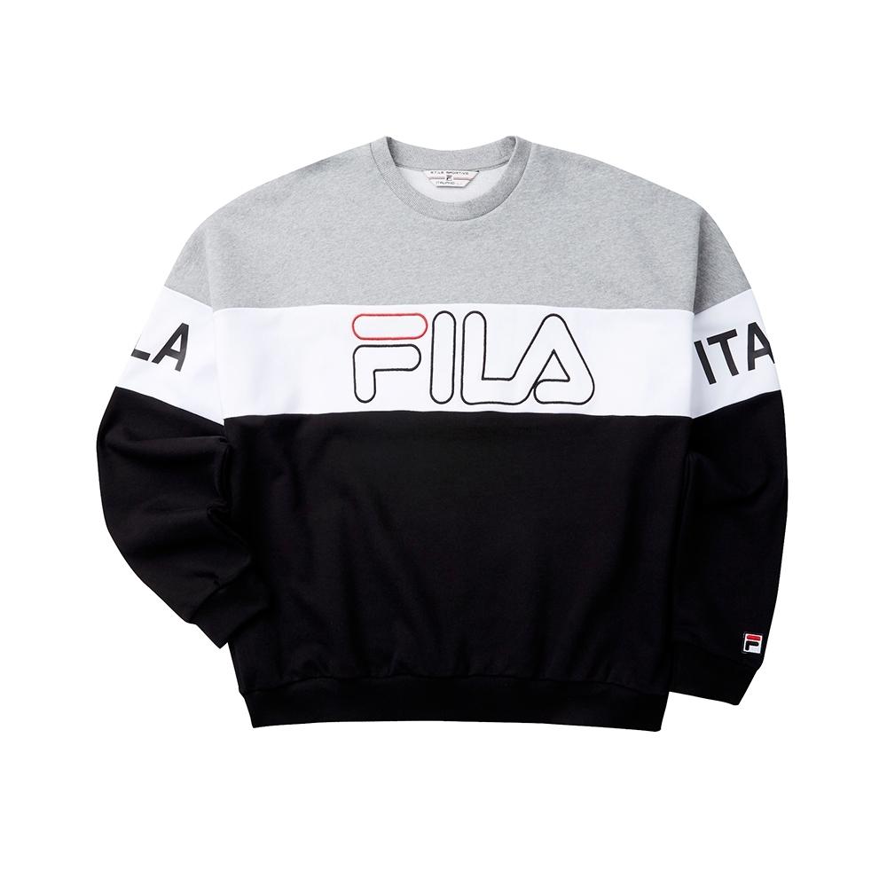 FILA #LINEA ITALIA 長袖圓領T恤-黑 1TET-5405-BK